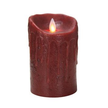 Boston Warehouse 49810 Mystique 5 in. Primitive Burgundy Flameless Pillar Candle