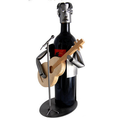 H & K Sculptures Guitar Player 1 Bottle Tabletop Wine Rack