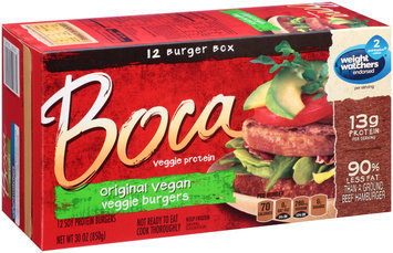 Boca Original Vegan Veggie Burgers 12 ct Box