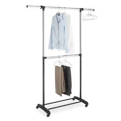 Symple Stuff Adjustable Two Rod Garment Rack in Chrome / Black