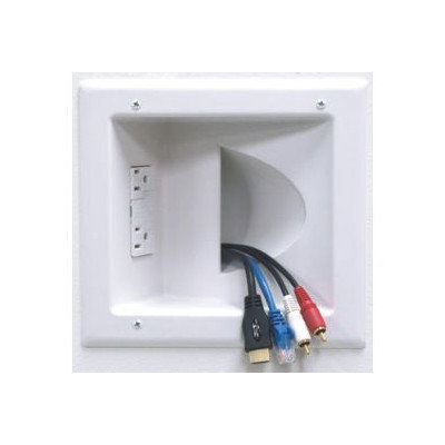 Peerless Industries Inc. Peerless Recessed Low Voltage Media Plate with Duplex Surge Suppressor