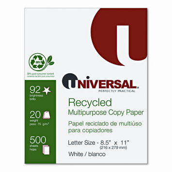 Universal Office Products 20030 30% Recycled Copy Paper 92 Brightness 20lb 8-1/2 X 11 White 5000/carton