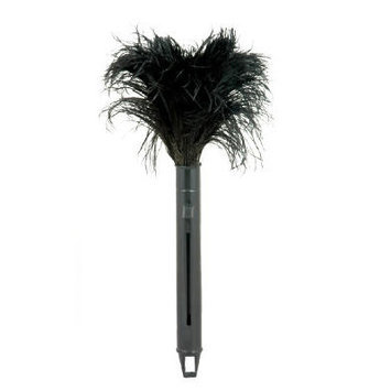 Unisan Retractable Feather Duster, Black Plastic Handle Extends 9