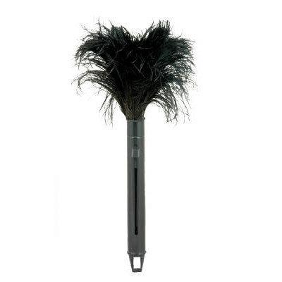 Unisan Retractable Feather Duster, Black Plastic Handle Extends 9
