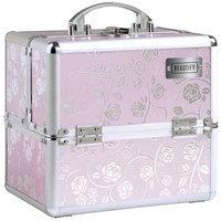 Beautify-Professional Pink Rose Patterned Aluminium Beauty Cosmetics & Make Up Case