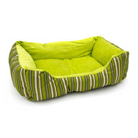 Aleko Soft Plush Pet Cushion Crate Bed Mat Color: Green Stripes