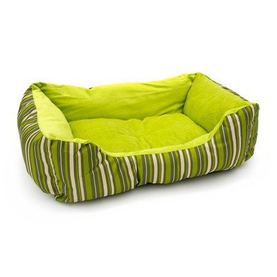 Aleko Soft Plush Pet Cushion Crate Bed Mat Color: Green Stripes