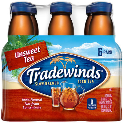 TRADEWINDS SLOW BREWED ICED TEA, Unsweet Tea 16-ounce plastic bottles (Pack of 6)