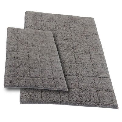 Textile Decor Castle 2 Piece 100% Cotton Summer Tile Spray Latex Bath Rug Set, 24 H X 17 W and 40 H X 24 W