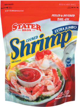 Stater Bros. Peeled & Deveined Tail-On Cooked Extra Jumbo 26-30 Shrimp 16 Oz Bag