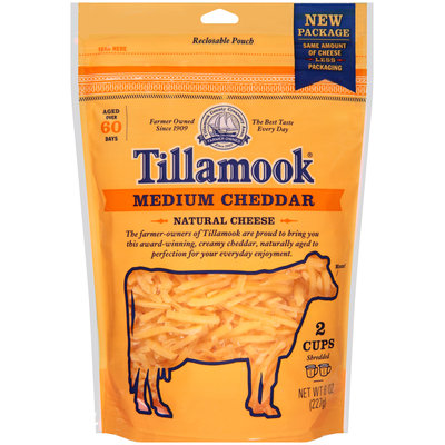 Tillamook® Shredded Medium Cheddar Cheese 8 oz. Pouch