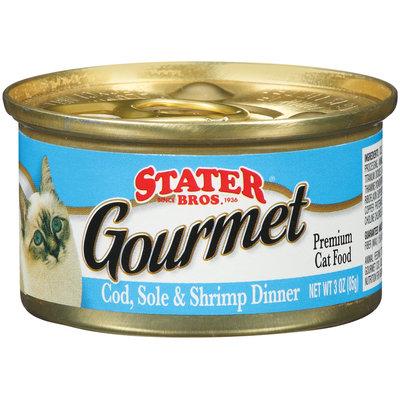 Stater Bros. Gourmet Cod, Sole & Shrimp Dinner Premium Cat Food 3 Oz Brush-Top Can