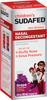 Children's Sudafed® Non-Drowsy Grape Nasal Decongestant 15mg Liquid 4 fl. oz. Box