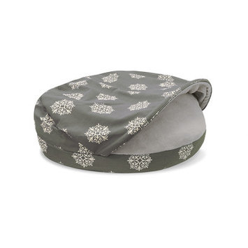Precioustails Details Canvas Round Cave Hamburger Pet Bed with Plush Fleece Interior and Medallion Print Color: Gray, Size: Medium (35