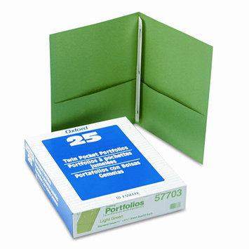 Esselte Pendaflex Corporation ESS57703 Twin Pocket Portfolio- w-Fstnrs- 11in. x8.50in- Light Green