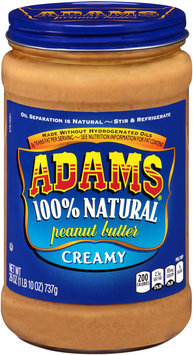 Adams® Creamy 100% Natural Peanut Butter 26 oz. Jar