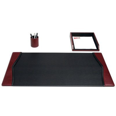 Dacasso D7037 Burgundy Leather 3-Piece Desk Set
