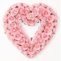 Glenna Jean Rosebud Heart Wreath Cream And Pink
