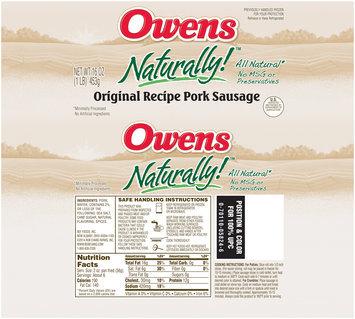 Owens® Naturally!™ Original Recipe Pork Sausage 16 oz. Chub
