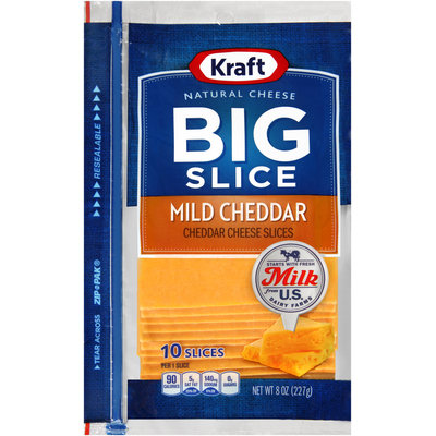 Kraft Natural Cheese Big Slice Mild Cheddar Cheese Slices 10 ct ZIP-PAK®