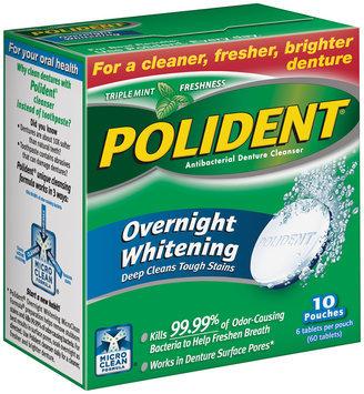 Polident® Antibacterial Overnight Whitening Triple Mint Freshness Denture Cleanser Tablets 60 ct. Box