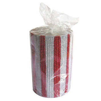 American Atelier Striped Glitter Pillar Candle Size: 8