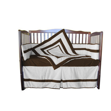 Babydoll Bedding 4 Piece Crib Bedding Set Color: White/Chocolate