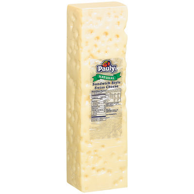 Pauly Swiss Sandwich Style Cheese 9.41 Lb Brick