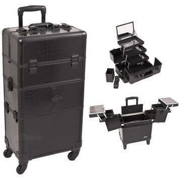 Just Case Sunrise I3564CRAB Black Crocodile Trolley Makeup Case