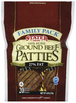 Stater Bros. 100% Pure 27% Fat 20 Ct Ground Beef Patties 5 Lb Stand Up Bag