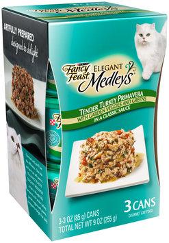 Purina Fancy Feast Elegant Medley's Tender Turkey Primavera Cat Food 3-3 oz. Cans