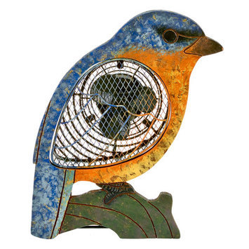 Decoflair Figurine Bluebird Wood Fan