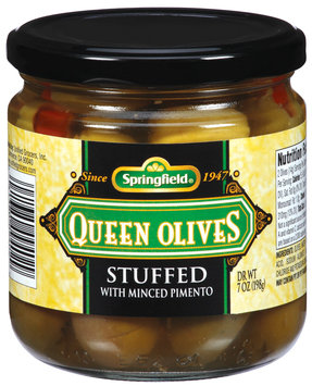 Springfield Queen Stuffed W/Minced Pimento Olives 7 Oz Jar