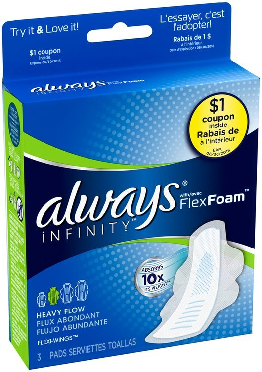 Infinity Always Infinity Heavy Flow Pads with Wings,  3 Count