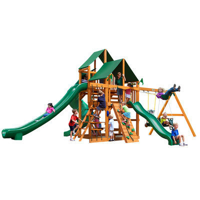 Gorilla Playsets Playground Equipment. Great Skye II with Amber Posts and Deluxe Green Vinyl Canopy Cedar Playset