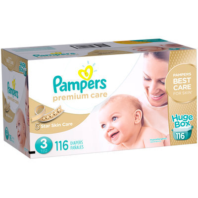 Premium Pampers Premium Care Diapers Size 3 116 count
