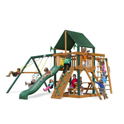 Gorilla Playsets Playground Equipment. Navigator with Amber Posts and Sunbrella Canvas Forest Green Canopy Cedar Playset