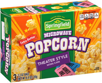 Springfield® Extra Butter Theater Style Microwave Popcorn 9.9 oz. Box