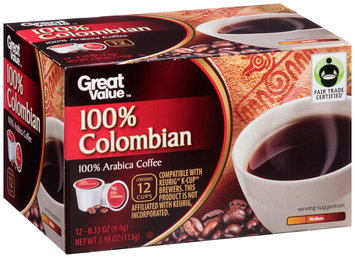 Great Value™ 100% Colombian Coffee 1 Cups