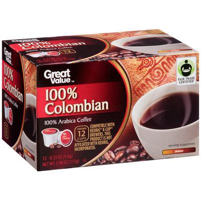 Great Value™ 100% Colombian Coffee 12-.33 oz. Cups