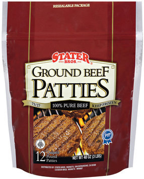 Stater Bros. Ground Beef Patties 48 Oz Bag