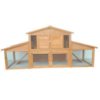 Pawhut 91 Deluxe Large Wooden Bunny Rabbit Hutch / Chicken Coop w/ Large Outdoor Run