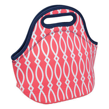 Occasionally Made Coral Geometric Insulated Lunch Bag