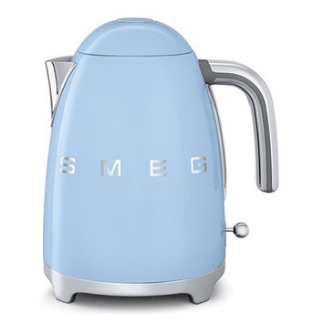 Smeg KLF01PBUS Retro Style Electric Kettle with Stainless Steel Powder Coated Body Polished Chrome Base and Handle 7 Cups Jug Capacity Double Water Indication