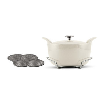 Tramontina Gourmet Tramontina Limited Editions Series 1200 Enameled Cast Iron 5.5 Qt Covered Round Dutch Oven with Stainless Steel Trivet Eggshell