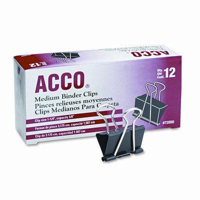 Acco Brands Acco Binder Clip - Steel - 1 Dozen - Black Silver