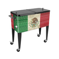 Sainty International Mexico Flag 80 Qt. Rolling Patio Cooler