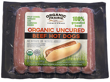 Organic Prairie Beef Hot Dogs Organic Uncured 100% Grassfed 12 oz Wrapper
