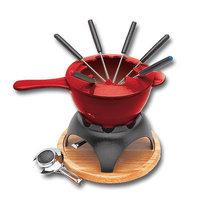 World Cuisine A1714015 Red 1.5 Qt Fondue Set