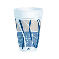 Dart 32 Oz Printed Impulse Foam Hot / Cold Drinking Cups 25 / Bag in Blue / Gray